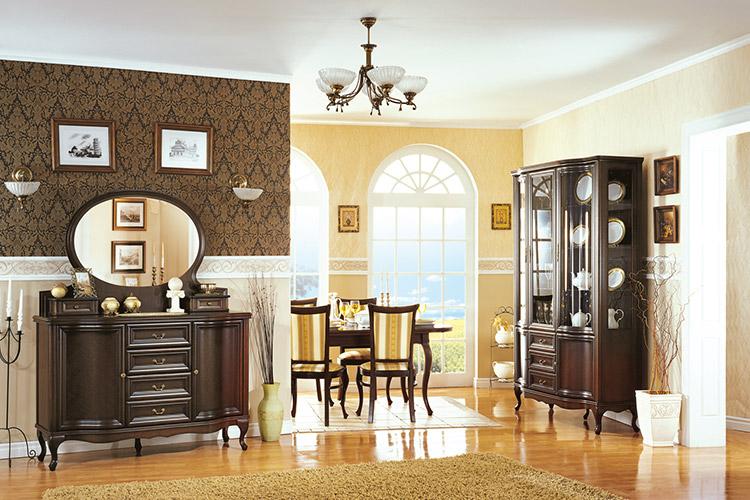Klassisches 10-Set Esszimmer Vitrine Kommode Stühle Tisch Chippendale Wohnzimmer