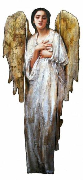Wand Statue mit Öl bemalt Engel Figur Echte Wandbild Bild Bilder Ölbilder G02773