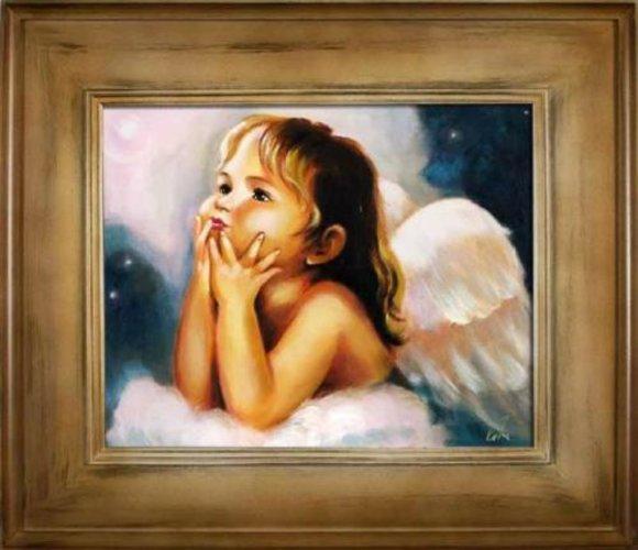 Engel Ölbild Bild Bilder Gemälde Ölbilder Mit Rahmen 61X71CM Handarbeit G16477