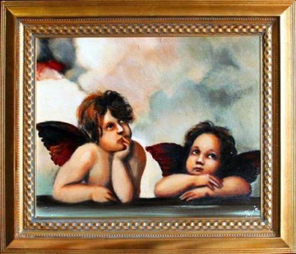 Engel Ölbild Bild Bilder Gemälde Ölbilder Mit Rahmen 53X64CM Handarbeit G05803