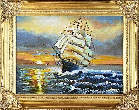 Gemälde Ölbild Bild Ölbilder Rahmen Bilder Seefahrt Schiffe Ölgemälde G16262