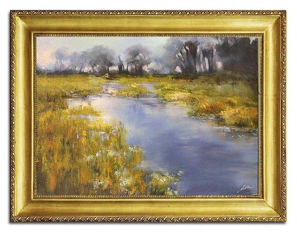 Elegantes Gemälde Echtes Ölbild Handarbeit Bild Bilder Fluss mit Rahmen G96451