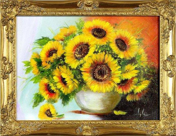 Sonnenblumen - Blumen Pflanzen Bilder Gemälde Ölbilder Ölbild Mit Rahmen G16627