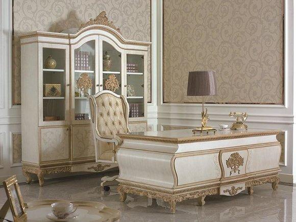 Edles Büro Chefzimmer Kanzlei Einrichtung Schreibtisch Schrank Chefsessel E67