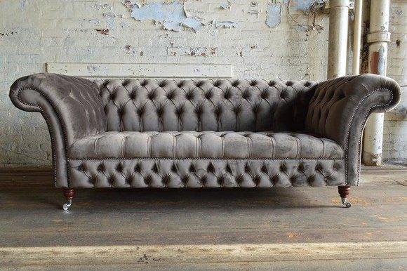 Sofa Luxus Textil Chesterfield Couch Sofas Polster 3 Sitzer Garnitur Grau Samt