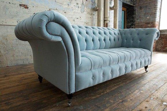 3 Sitzer Chesterfield Couch Sitz Textil Stoff Leder ...