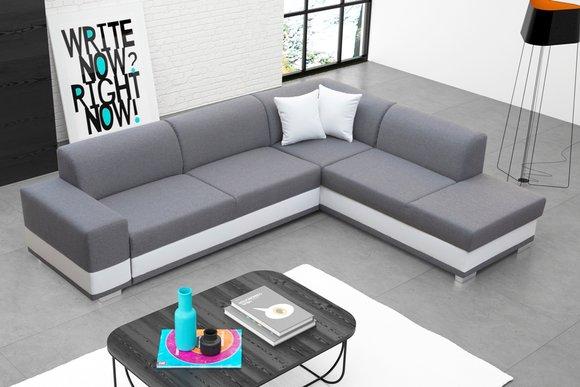 Polstersofa Loungesofa Couch Sitzgruppe Wohnzimmer mit Kissen Sofa L-Form  Grau