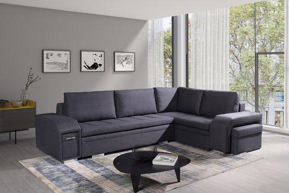 Polstersofa Loungesofa Couch Sitzgruppe Wohnzimmer mit Kissen Sofa L-Form  Schlaf