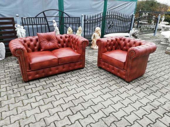 Chesterfield Sofagarnitur Sofa Couch Polster Garnitur 3+1 Sitz 100% Leder SOFORT