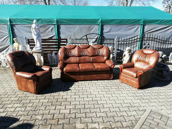Sofagarnitur Klassische Sofa Couch Polster 100% Leder 3+1+1 mit Bettfunktion NEU
