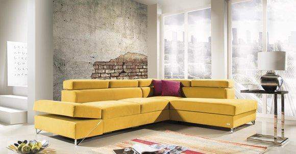Ecksofa Stoff L-Form Bettfunktion Couch Design Polster ...