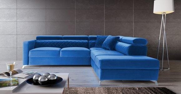 Ecksofa L-Form Couch Design Polster Textil Bettfunktion ...