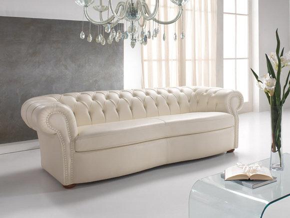 CHESTERFIELD Design Sofa 3-Sitzer Weiß Leder Polster Couch ...