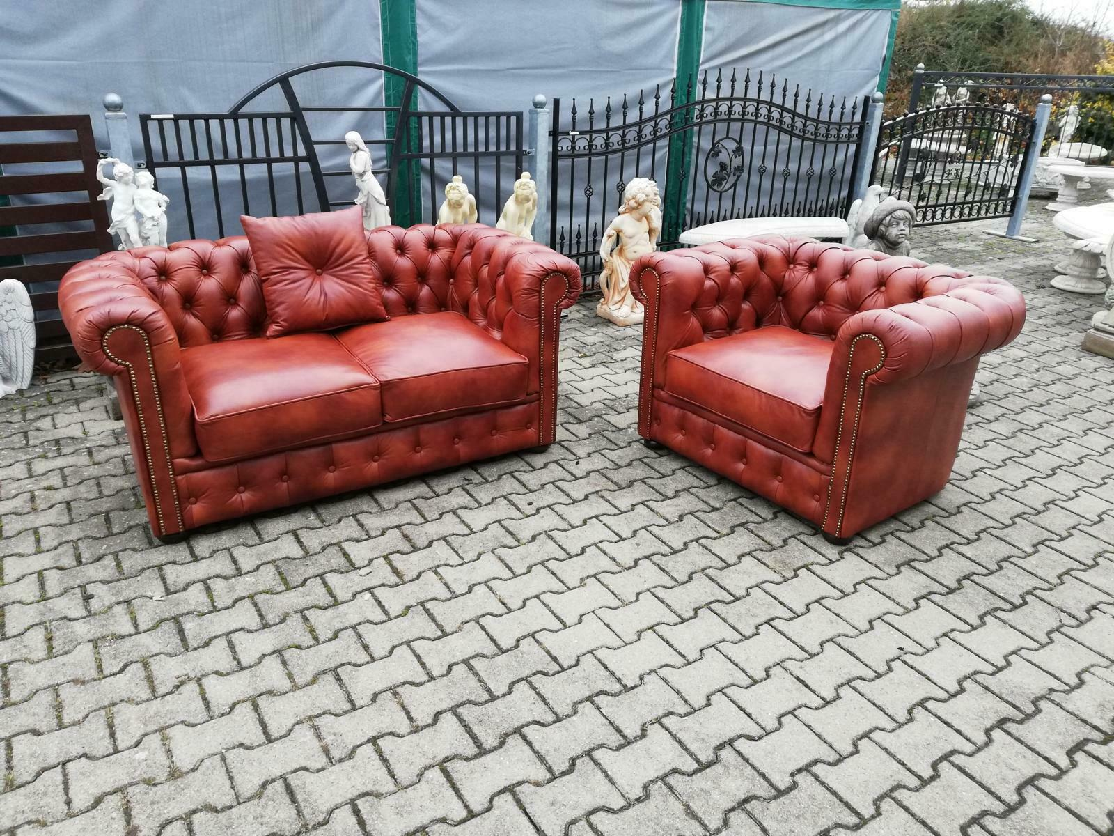 Chesterfield Sofagarnitur Sofa Couch Polster Garnitur 3+1 Sitz 100% Leder SOFORT